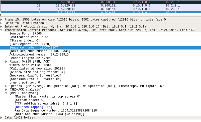 MPTCP in Wireshark — MPTCP